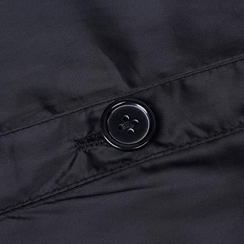 Laterali Cappuccio Fit Antivento Especial Cintura Lunga Giacca Tasche Donna Giubotto Inclusa Manica Schwarz Monocromo Trench Con Button Slim Estilo Invernali Bavero aHBqpYS