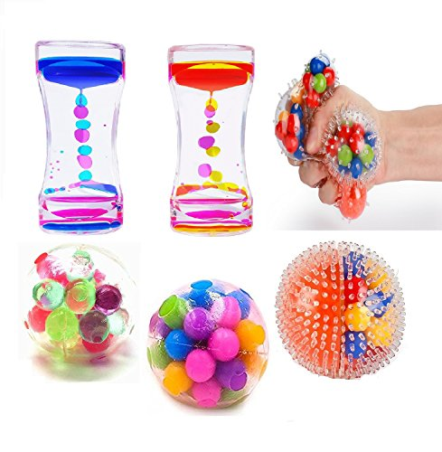 Slovery Stress Balls For Kids-3 Different DNA Stress Balls-2 Liquid Motion Bubbler Timer- Stress Relief Fidget Toys For Anxiety Kids Adults With Autism ADHD & More by Slovery