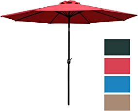 Sunnyglade 9u0027 Patio Umbrella Outdoor Table Umbrella With 8 Sturdy Ribs (Red)