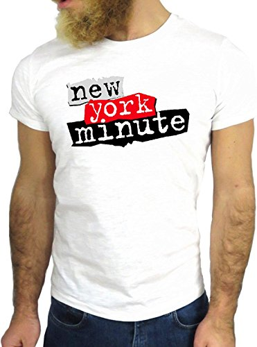 T-SHIRT JODE GGG24 HZ0499 NEW YORK MNUTE COOL VINTAGE ROCK FUNNY FASHION CARTOON NICE AMERICA BIANCA - WHITE XL