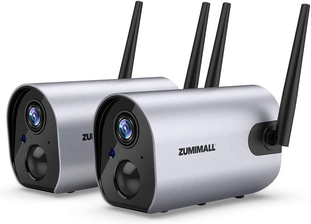 Zumimall Outdoor Security Camera, 1080P Wireless WiFi Surveillance Waterproof Camera, IR Night Vision, Two Way Audio, PIR Motion Detection, Rechargable 10400mAh Battery Powered, Cloud/SD, 2PCS