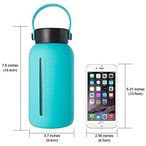 MIUCOLOR Large Glass Water Bottle - 30oz Wide Mouth with Silicone Sleeve & Stainless Steel Lid Insert Borosilicate Glass Bottles for Home Sports and Outdoor (Green)