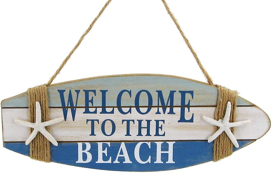'Welcome to The Beach' Wooden Surfboard Plaque