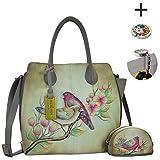 Anuschka Shoulder Handbag - Hand Painted Design on Real Leather - Bundle w Purse Holder (Summer Tryst)