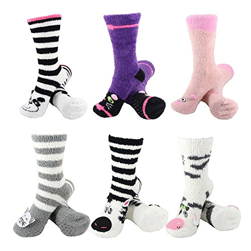 (Super Soft Warm Cute Animal Non-Slip Fuzzy Cozy Crew Winter Home Socks, Assortment C - 6 Pairs - Value Pack)