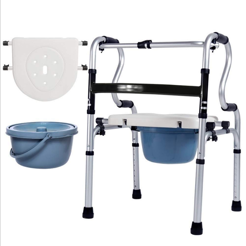 MU-WALKER Folding Lightweight Aluminium Height Adjustable Walking Frame, Ergonomic Handle with Limited Mobility Assistance oO (Size : Without casters)