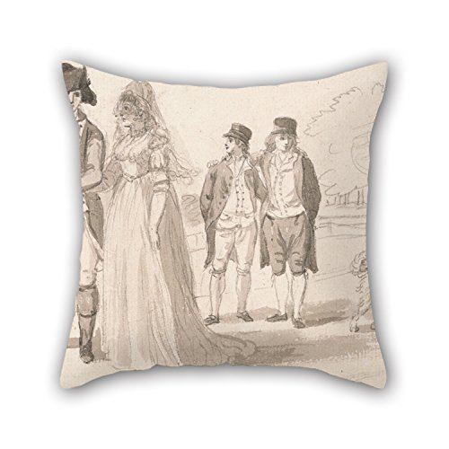 Elegancebeauty 20 X 20 Inches / 50 By 50 Cm Oil Painting Paul Sandby - A Family In Hyde Park Throw Christmas Pillow Case Both Sides Ornament And Gift To Kitchen Father Valentine Son Study Room Bench