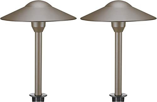 Lumina Low Voltage Landscape Lighting Cast-Aluminum Outdoor Path and Area Light Warm White 3W G4 LED Bulb and ABS Heavy Duty Ground Stake Included for Yard Walkway Lawn – Bronze PAL0101-BZLED2 2PK