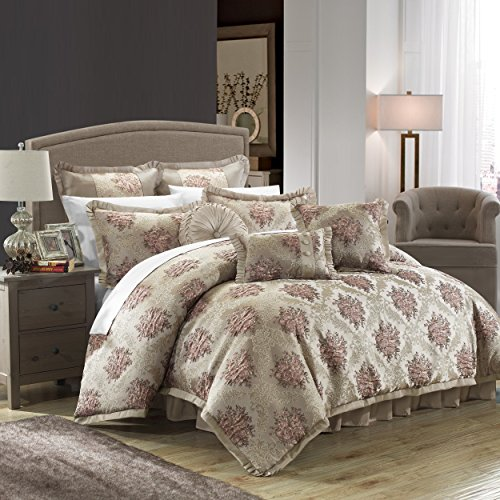 Chic Home 9 Piece Le Mans Decorator Upholstery Quality Jacquard Motif Fabric Bedroom Comforter Set & Pillows Ensemble, King, Beige
