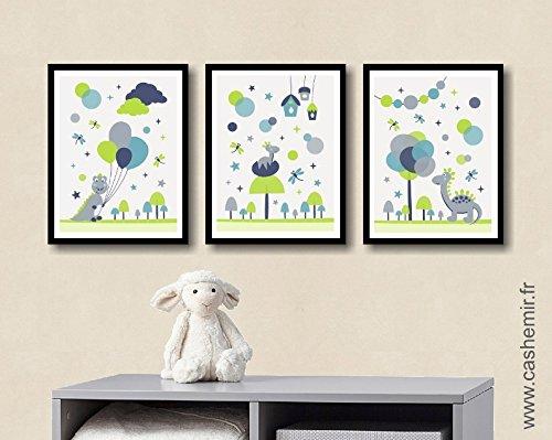 Affiche enfant décoration chambre bébé garçon déco chambre enfant illustration murale chambre bébé dinosaure bleu gris