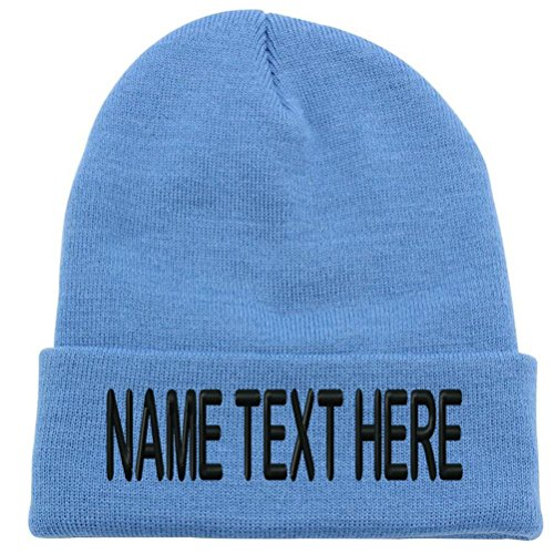 - Custom Embroidery Personalized Name Text Ski Toboggan Knit Cap Cuffed Beanie Hat - Light Blue ...
