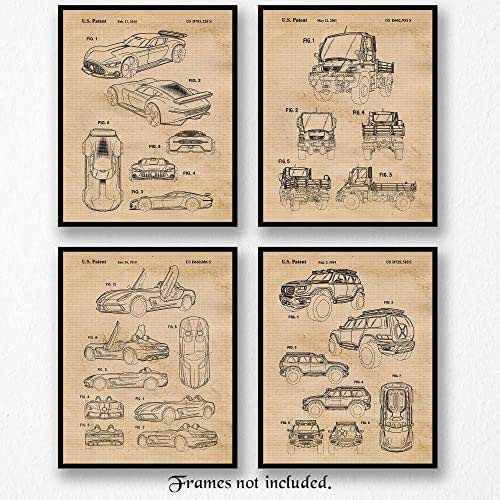 Vintage Mercedes AMG Concepts Patent Art Poster Prints, Set of 4 (8x10) Unframed Photos, Great Wall Art Decor Gifts Under 20 for Home, Office, Man Cave, Student, Teacher, German Cars & Coffee Fan