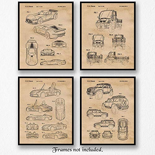 Vintage Mercedes AMG Concepts Patent Art Poster Prints, Set of 4 (8×10) Unframed Photos, Great Wall Art Decor Gifts Under 20 for Home, Office, Man Cave, Student, Teacher, German Cars & Coffee Fan