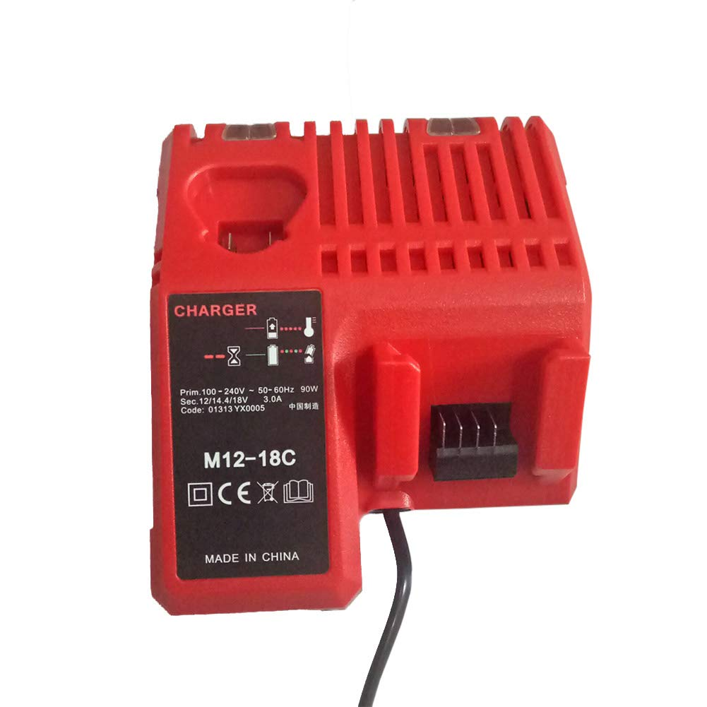Lanlan Quick Charger Quick Charger Replacement for Milwaukee M12-18FC Lithium Battery UK Plug