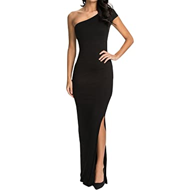 Sue&Joe Womens Bodycon Maxi Dress One Shoulder Side Slit Fitted Evening Dresses, Black, ...