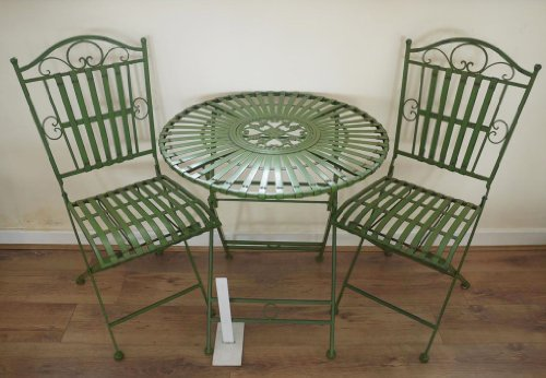 French Ornate Antique Green Wrought Iron Metal Garden Table and
