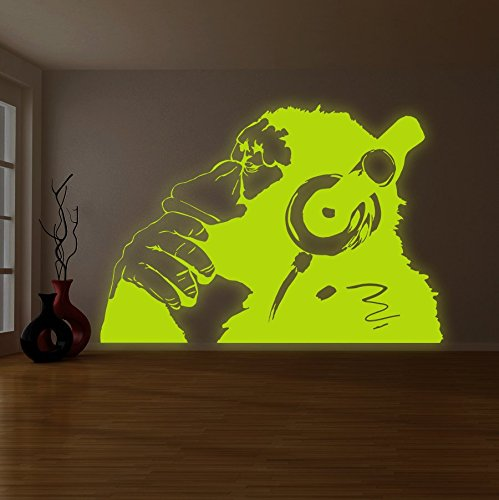 ( 94 x 66 ) Banksy Glowing Vinyl Wall Decal Monkey With Headphones / Glow in Dark Chimp Listening to Music Earphones / Luminescent Art Graffiti Sticker