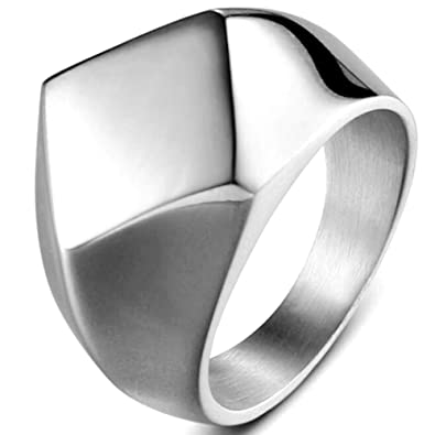 Amazon.com: Acero inoxidable clásica Simple, liso, anillo de ...