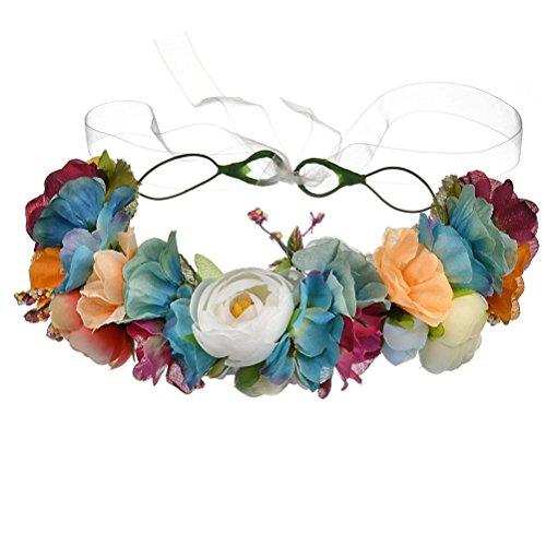 Vivivalue Boho Flower Crown Adjustable Flower Headband Hair Wreath Floral Headpiece Halo with Ribbon Wedding Party Festival Photos Blue