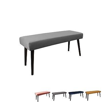 Nimara Gepolsterte Samt Sitzbank mit schwarzen Beinen | Perfekt für  Esszimmer und Schlafzimmer und als Deko Bank | Erhältlich in grau,  dunkelblau, ...