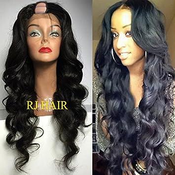 e97e0e7b3 Amazon.com : RJ Hair 180% Density U Part Wigs Peruvian Virgin Hair Body  Wave U Part Human Hair Wigs Middle Part (22inch, 180%) : Beauty