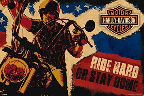 Hard Ride Poster ((24x36) Harley Davidson - Ride Hard or Stay Home)