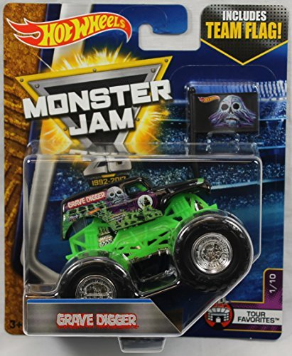 Hot Wheels Monster Jam 2017 Tour Favorites Grave Digger (With Flag) 1:64 Scale, Black and Green