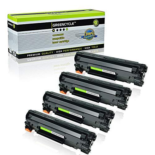 GREENCYCLE 4 PK CB435A 35A Black Laser Toner Cartridge Compatible for Laserjet P1006 P1005