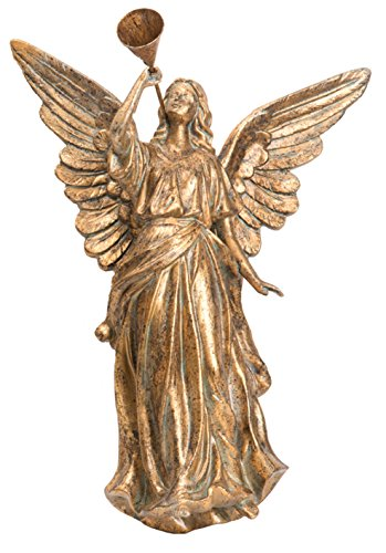 One Holiday Lane Elegant Antique Gold Angel Blowing Horn Wall Hanging Christmas Decoration (Facing Left)