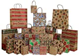 Iconikal Foil & Glitter Kraft Christmas Gift Bags, 24-Count, 6 XL, 6 Large, 6 Medium, 6 Small