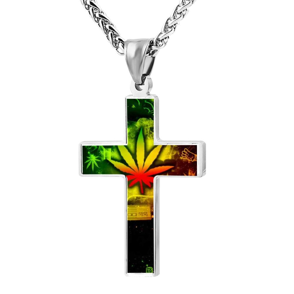 Fashion Colorful Weed Christian Cross Necklace Religious Jewelry Pendant