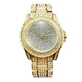 GBSELL Luxury Women Watches Rhinestone Ceramic Crystal Quartz Watches Lady Dress Watch Golden