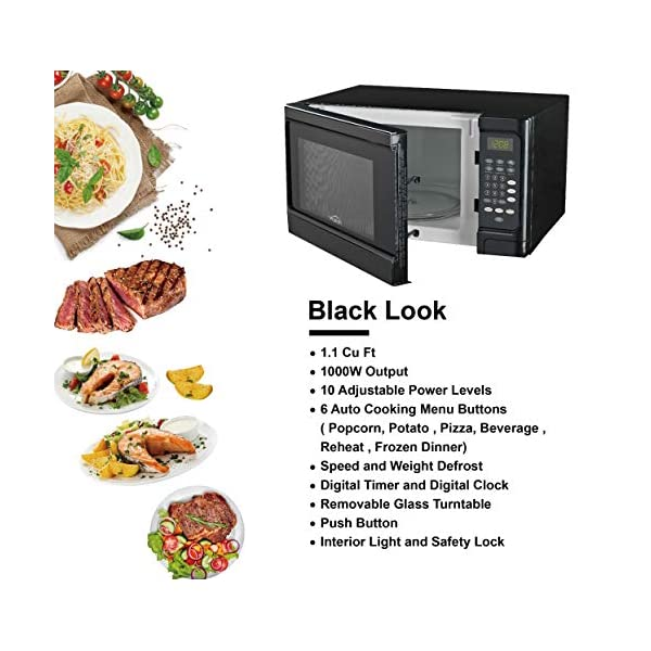 Walsh WSCMS311BK-10 Countertop Microwave Oven, 6 Cooking Programs LED Lighting Push Button, 1.1 Cu.Ft/1000W, Black 3