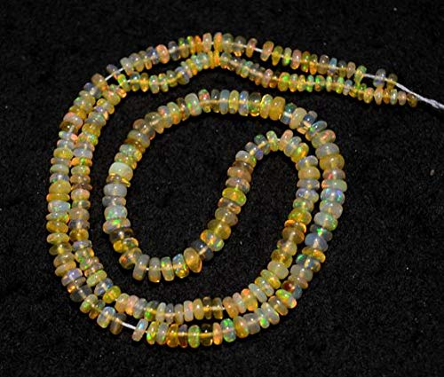 GemAbyss Beads Gemstone Ethiopian Opal Beads, Welo Opal, Opal Plain Rondelles, 3.5mm to 5mm, 16 Inches Strand Code-MVG-31895