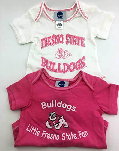 Pack of 2 OuterStuff Officially Licensed Infant 18 Month Fresno State Bulldogs Baby Girls Pink and White Onesie Romper - Dress Shops Fresno In
