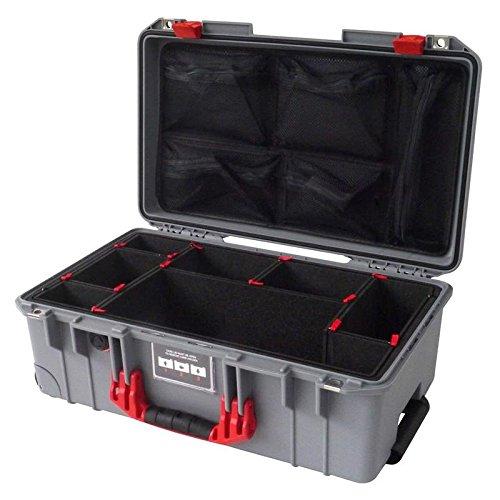 シルバー&レッドPelican 1535 Air Case, with trekpakディバイダー&ふたオーガナイザ。   B079R9B96T