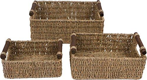 Trademark Innovations Seagrass & Wood Handled Nesting Baskets by (Set of 3) by Trademark Innovations (Image #1)