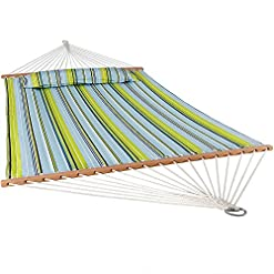 Garden and Outdoor Sunnydaze Quilted Fabric Hammock with Spreader Bars – Large Two Person Hammock for Backyard & Patio – Heavy Duty 450… hammocks