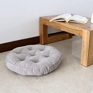 QTQZ Cotton Round seat Cushion,Simple futon Cushion Thick Japanese Tatami Breathable Office Chair Pads-A 40x40cm(16x16inch)