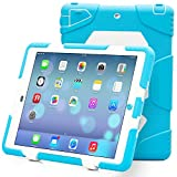 iPad Air 2 Case, iPad 6 Case, ACEGUARDER® [Shockproof] [Heavy Duty] [Military] Extreme Tough & Drop Resistance Soft Silicone Case with Kickstand for Apple iPad Air 2. (Whistle + Stylus Pen + Carabiner) (LightBlue/White)