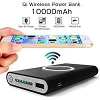 Portable Power Bank 10,000 mAh, Wireless Charger for iPhone X,iPhone 8,Samsung Galaxy S8, Note 8