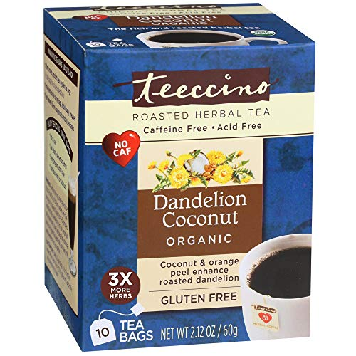 (Teeccino Dandelion Coconut Organic Dandelion Root Roasted Herbal Tea, Caffeine Free, Gluten Free, Acid Free, Prebiotic, 10 Tea Bags)
