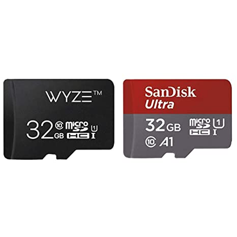 Wyze Labs Expandable Storage 32GB MicroSDHC Card Class 10 & SanDisk Ultra  32GB microSDHC UHS-I card with Adapter - 98MB/s U1 A1 - SDSQUAR-032G-GN6MA