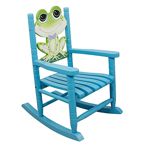 Teamson Design Corp Fantasy Fields - Froggy Thematic Kids Wooden Rocking Chair | Imagination Inspiring Hand Crafted & Hand Painted Details Non-Toxic, Lead Free Water-based Paint
