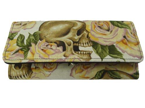 - USA Handmade Fashion Wallet RESTING IN LIGHT PINK ROSES Skulls Halloween Gothic Pattern Bi-Fold Women's Wallet Alexander Henry Cotton Fabric,, WW 1043-3