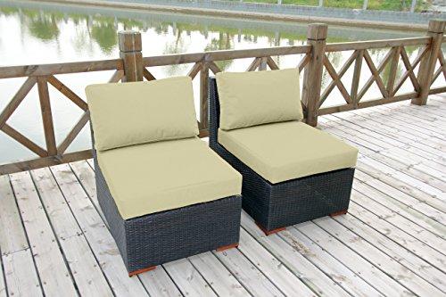 BHG Cibo Armless/Slipper Chair Featuring Sunbrella Fabric (2 Pack), Canvas Vellum