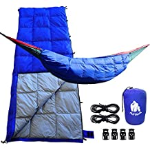 CHILL GORILLA 30°F DOWN UNDERQUILT, SLEEPING BAG, & POD SYSTEM for Hammock & More. Ultralight 5 in 1 Keeps You Warmer, Saves Space & Versatile. Camping Backpacking & Survival Gear. Eno Accessory BLUE