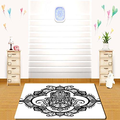 HAIXIA rugs Hamsa Curvy Ornate Frame with Antique Religious Motif Floral Ethnic Tattoo Hand of Fatima Decorative Black White