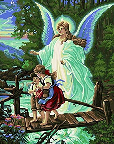 YEESAM ART DIY Paint by Numbers for Adults Beginner Kids, Guardian Angel 16x20 inch Linen Canvas Acrylic Stress Less Number Painting Gifts (Guardian Angel, Without Frame)