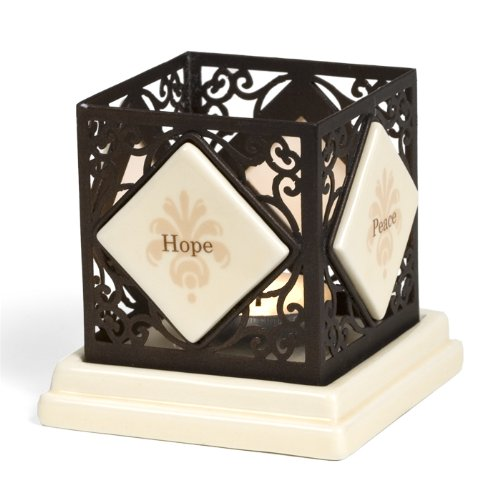 Simply Stated by Pavilion 4-1/4-Inch Square Metal Scroll Candle Holder, Hope Peace Faith Love Sentiment Pavilion Gift Company 66005